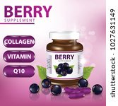 berry dietary supplement banner ... | Shutterstock .eps vector #1027631149