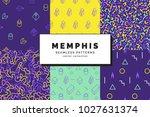 set of memphis seamless...   Shutterstock .eps vector #1027631374