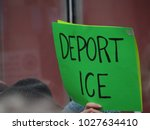 "Small photo of New York, New York / United States - February 10, 2018: Image shows 'deport ice sign'. Demonstration to protest deportation of immigration activist Ravi Ragbir ""You Can't Deport a Movement""."
