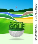 golf tournament ticket or flyer ... | Shutterstock .eps vector #1027635529
