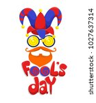 colorful fools day concept with ... | Shutterstock .eps vector #1027637314
