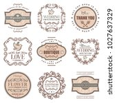 vintage romantic labels set... | Shutterstock .eps vector #1027637329