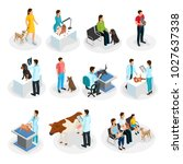 isometric veterinary clinic set ... | Shutterstock .eps vector #1027637338