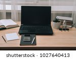 workstation with laptop... | Shutterstock . vector #1027640413