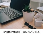 workstation with laptop... | Shutterstock . vector #1027640416