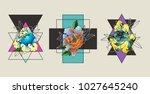 peony trendy tattoo art... | Shutterstock .eps vector #1027645240