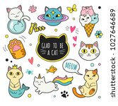 cats patches collection. vector ... | Shutterstock .eps vector #1027646689