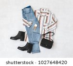 blue jeans  striped shirt ... | Shutterstock . vector #1027648420