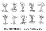 tree silhouettes on white... | Shutterstock .eps vector #1027651210