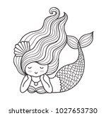 dreamy lying mermaid with long... | Shutterstock .eps vector #1027653730