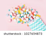 easter candy chocolate eggs and ... | Shutterstock . vector #1027654873