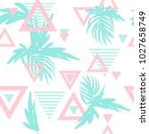 summer tropical leaves seamless ...   Shutterstock .eps vector #1027658749