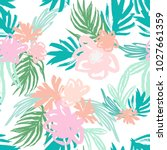 summer tropical florals... | Shutterstock .eps vector #1027661359