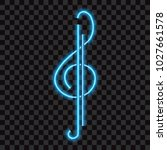 neon  abstract treble clef ... | Shutterstock .eps vector #1027661578