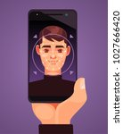 facial recognition smart phone. ... | Shutterstock .eps vector #1027666420