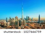 amazing view on dubai downtown... | Shutterstock . vector #1027666759