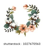 wreath of flowers and leaves.... | Shutterstock . vector #1027670563