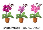 hand drawn set of orchids in... | Shutterstock .eps vector #1027670950