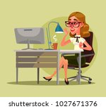 happy smiling secretary woman... | Shutterstock .eps vector #1027671376