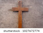 wooden cross. old wooden cross ... | Shutterstock . vector #1027672774