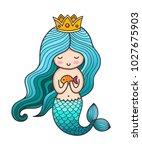 cute little princess mermaid... | Shutterstock .eps vector #1027675903