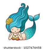 cute lying dreamy mermaid with... | Shutterstock .eps vector #1027676458