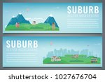 two city banners with suburban... | Shutterstock .eps vector #1027676704
