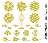 chinese background vector. gold ... | Shutterstock .eps vector #1027677400