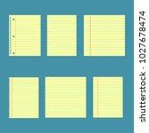 notebook paper set. yellow... | Shutterstock .eps vector #1027678474