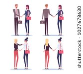set of greeting business people.... | Shutterstock .eps vector #1027678630