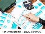 businesswoman working with... | Shutterstock . vector #1027684909