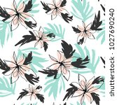 summer flowers and leaves... | Shutterstock .eps vector #1027690240