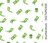 dollar rain pattern vector... | Shutterstock .eps vector #1027690330