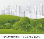 white paper skyscrapers and...   Shutterstock .eps vector #1027691698