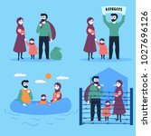 the refugee family. sailing... | Shutterstock .eps vector #1027696126