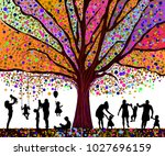 colored tree and silhouettes of ... | Shutterstock .eps vector #1027696159