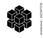 black geometric cube of 8... | Shutterstock .eps vector #1027697278