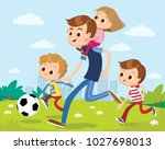 father playing football with... | Shutterstock .eps vector #1027698013