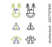 a set of minimal yoga icons | Shutterstock .eps vector #1027707850