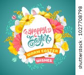 easter greeting cute design... | Shutterstock .eps vector #1027708798