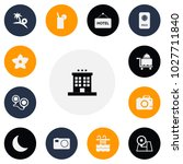 set of 13 editable travel icons.... | Shutterstock .eps vector #1027711840