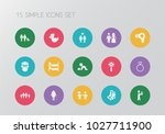 set of 15 editable kin icons.... | Shutterstock .eps vector #1027711900