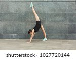 fitness  woman training yoga in ... | Shutterstock . vector #1027720144