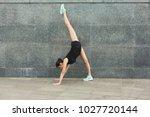 fitness  woman training yoga in ... | Shutterstock . vector #1027720144