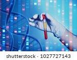 analysis of dnk. a hand in a... | Shutterstock . vector #1027727143