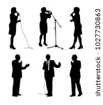 vector set of orator silhouettes | Shutterstock .eps vector #1027730863