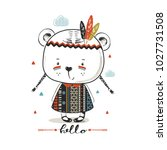 cute brave bear girl.hand drawn ... | Shutterstock .eps vector #1027731508