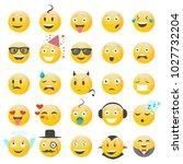 set of emotions  faces with... | Shutterstock .eps vector #1027732204