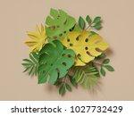 3d rendering  tropical paper... | Shutterstock . vector #1027732429