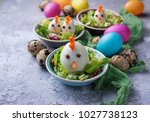 salad with eggs in shape of... | Shutterstock . vector #1027738123